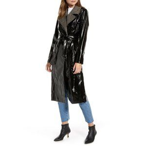 Something Navy Glossy Trench Coat Black Nordstrom